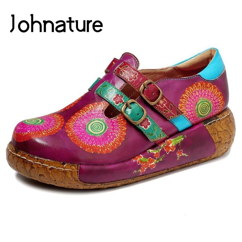 Johnature Retro Pumps Women Shoes Genuine Leather Platform Heels 2020 New Spring Round Toe Buckle Strap Wedges Ladies Shoes