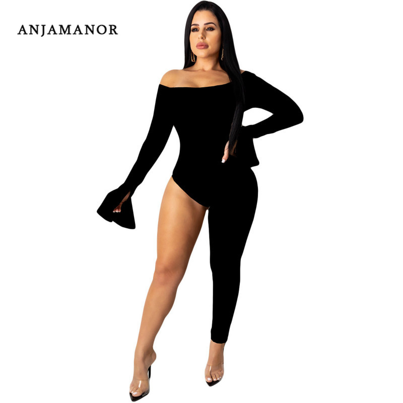 ANJAMANOR Black Long Sleeve Off The Shoulder One Legged Jumpsuit For Women One Piece Outfit Club Wear Bodycon Romper D91-AB06