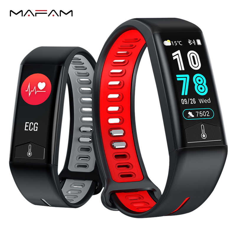 MAFAM T02 ECG Smart Watch Blood Pressure Heart Rate Body Temperature Monitor IP68 Waterproof Smart Bracelet For Android IOS