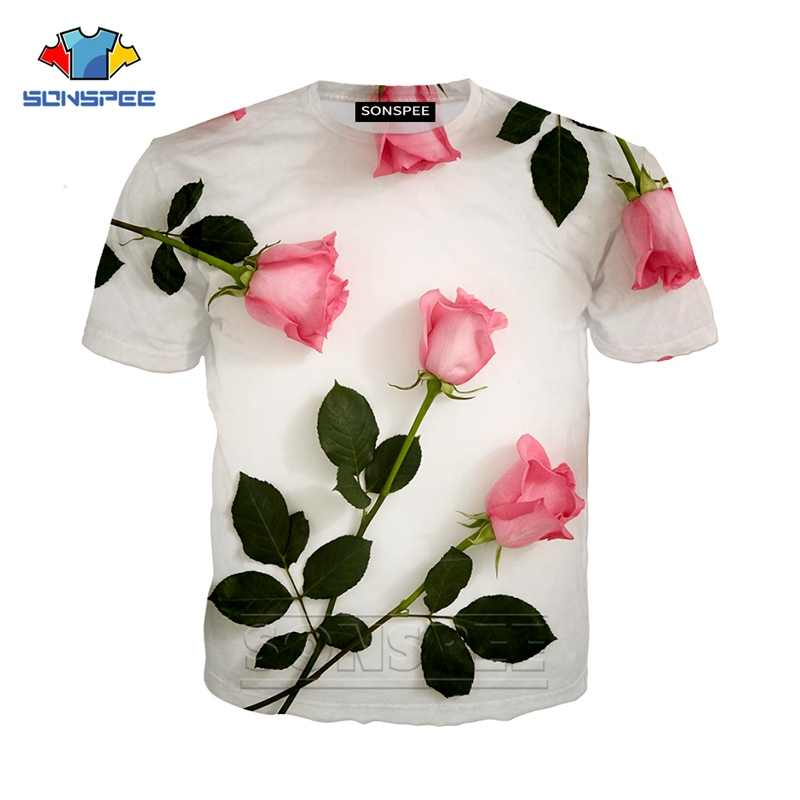 flower rose street colthing new Summer 3d print men/Women fashion casual Harajuku t-shirt funny hip hop t shirt o-neck shirts