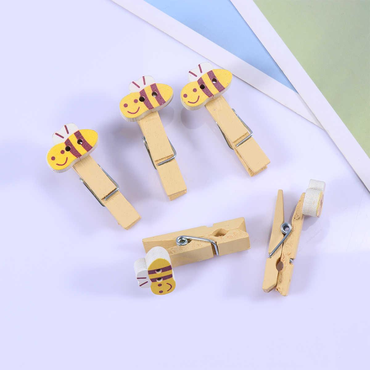 10 un Clavijas de madera con foto de papel Bigote Colgante Clips Para Decoración para Boda