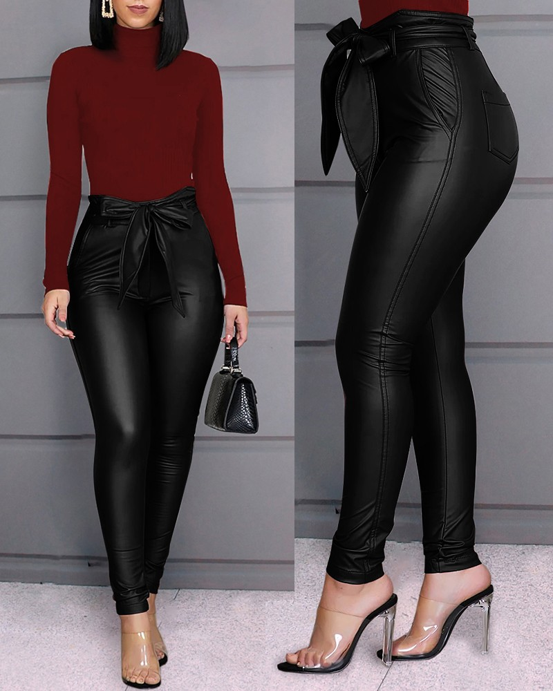 Hirigin Belt High Waist Pencil Pant Women Faux Leather PU Sashes Long Trousers Casual Sexy Exclusive Design Fashion Pants