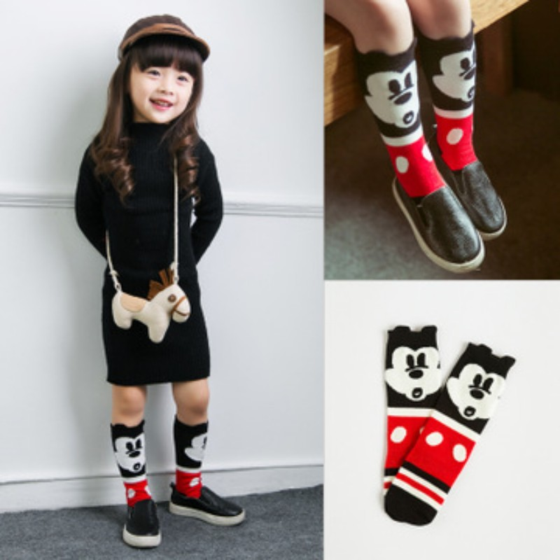 Cute Novelty Cartoon Micky Mouse Baby Socks Spring/Autumn 100% Cotton Girls Boys Gift Mid Tube Socks For Children 0-6Years Old