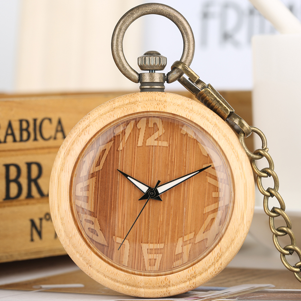 Nature Bamboo Case Quartz Pocket Watches Delicate Carving Dial Alloy Pendant Chain Gift For Unisex