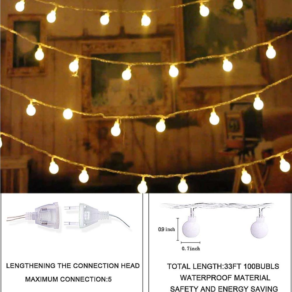 Ue plug 220v 10m led luzes da corda 8 modo de iluminação festão led luzes de fadas natal guirlanda ano novo decorações para casa quarto