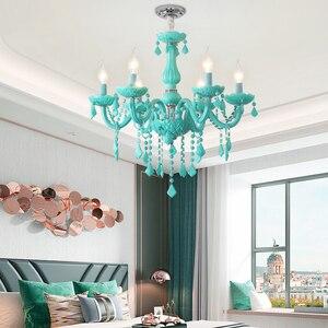 Image 5 - Modern Crystal led chandelier for living room Bedroom Kitchen light Fixtures lustre de cristal teto Green Color glass chandelier