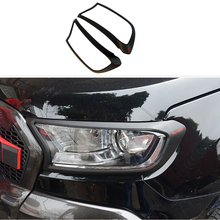 Apto para ford ranger 2015 2016 2017 2018 2019 2020 preto fosco farol capa lâmpada capuzes capa decorativa