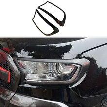 Cubierta de faro decorativa para Ford Ranger, cubierta de faro negra mate, 2015, 2016, 2017, 2018, 2019, 2020