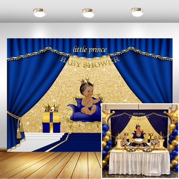NeoBack Royal Blue Baby Shower Backdrop Welcome Little Prince Photo Background Gifts and Gold Crown Backdrops funnytree prince photography background baby shower royal blue crown damask birthday backdrop photocall photo studio printed
