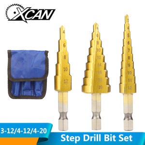 Step-Drill-Bit-Set Hole-Cutter Core Titanium-Coated Groove Wood Metal 4-20mm XCAN 3-12mm