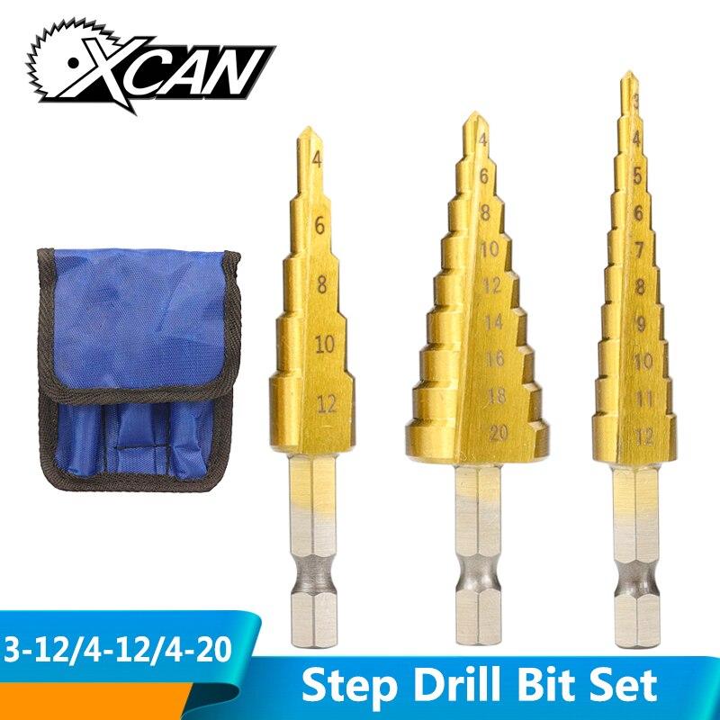 XCAN 3pcs 3-12mm 4-12mm 4-20mm HSS STRAIGHT Groove ขั้นตอนเจาะชุดไทเทเนียมเคลือบโลหะไม้ตัด Core เจาะชุด Bit