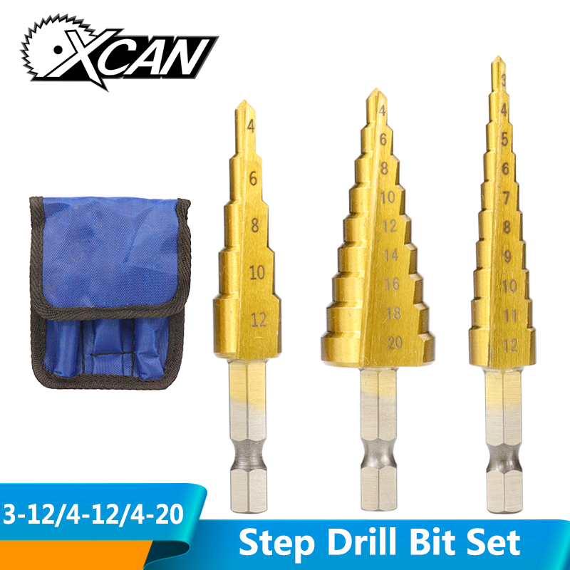 XCAN 3pcs 3-12mm 4-12mm 4-20mm HSS Straight Groove Step Drill Bit Set Titanium Coated Wood Metal Hole Cutter Core Drill Bit Set