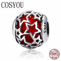 COSYOU 2019 Hot Sale 100% 925 Sterling Silver Shimmering Star Red Crystal CZ Beads fit Women Bracelets & Bangles Jewelry SCC509