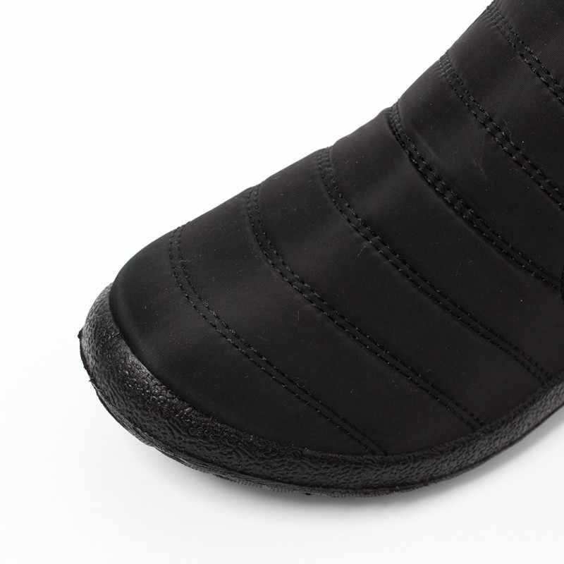 2019 kadın botları kalınlaşma artı kadife kar botları erkekler ve kadınlar su geçirmez şemsiye kumaş kaymaz sıcak botlar