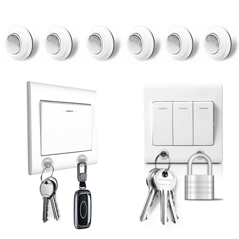 6pcs/pack Magnetic Key Holder Keychain Ring Key Racks Organizer Strong Magnet Easy Installed Without Drilling With Adhesive(China)