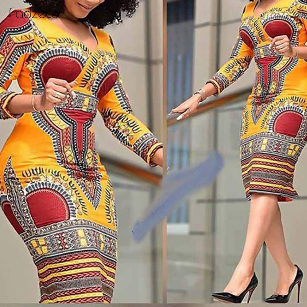 Fadzeco African Dress For Women 2019 Dashiki Traditional Ethnic Print Short Skirt Slim Fits Hip Elastic Ankara Dresses Outfits