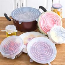 6 sztuk 12 sztuk żywności pokrywa silikonowa uniwersalna pokrywka silikonowa do naczynia miska Pot wielokrotnego użytku Stretch pokrywy akcesoria kuchenne tanie tanio macroupta CN (pochodzenie) SILICONE Blue White Pink Silica gel