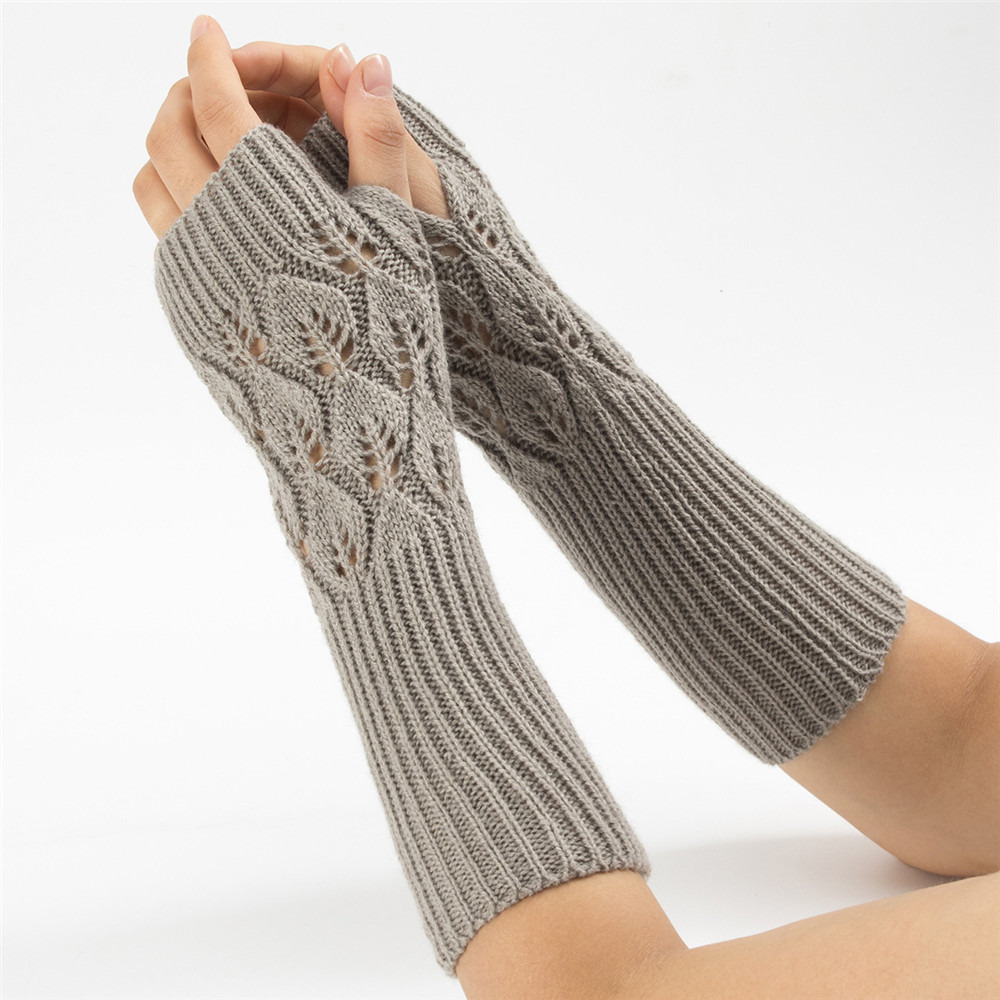 Women Fingerless Gloves Knitting Hollow Leaves Mittens Autumn Winter Hand Warmer