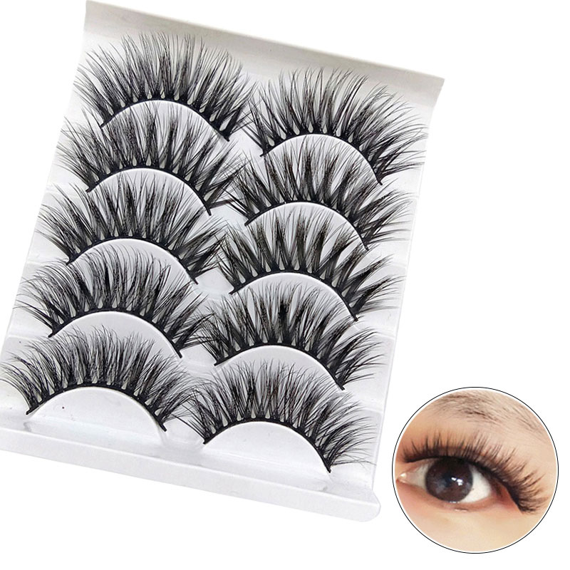 5 Pairs Handmade Real Mink Eyelashes Full volume False Thick Long Lashes Strip Cruelty Free Fake