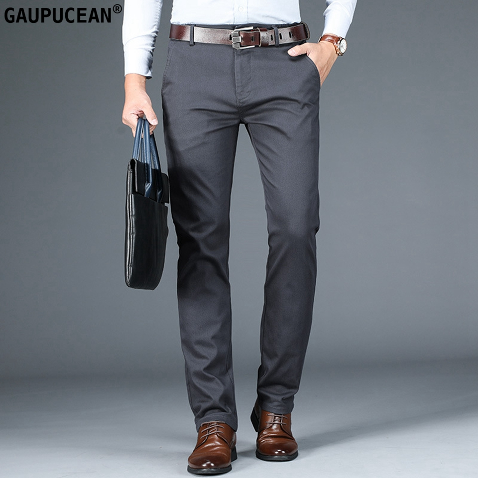 98% Cotton 2% Spandex Anti-static Man Trousers Formal Business Male Straight Autumn Clothing Slim Grey Casual Men Chino Pants