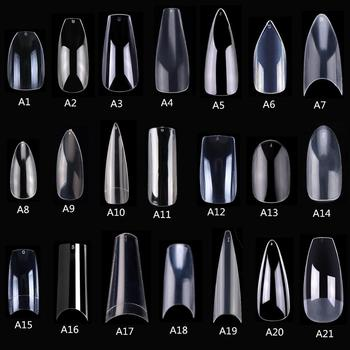 Makartt 500pcs Coffin Fake Nail  Tips Clear Natural Nails Tips Full Cover False Acrylic Nails Ballerina Nails Press on Nails