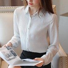Fashion Autumn Women Chiffon Shirt Elegant Woman Dot Blouses Shirt Korean Woman Print OL Shirt Plus Size Womens Tops and Blouses цена и фото