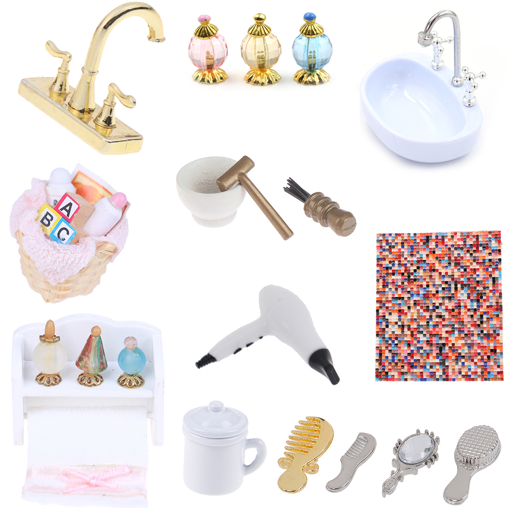 Towel Rack Shower Faucet Tissue Toothbrush Toothpaste Cup Baskets Hair Dryer 1/12 Dollhouse Bathroom DIY Furniture Accessories