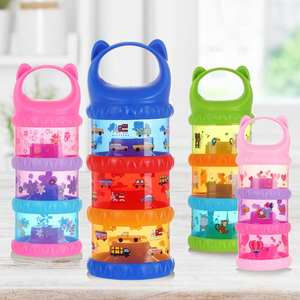Car Print Travel 3 Layer Baby Milk Powder Dispenser Non-Spill Storage Container Compact size large capacity good sealing