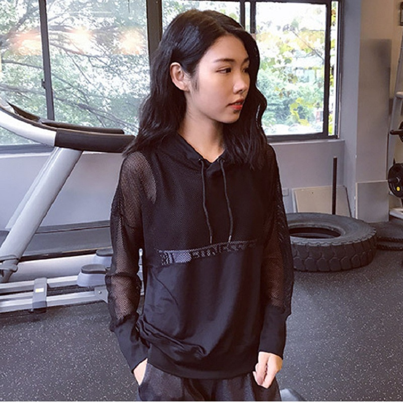 Women's Sports Hoodie Mesh Hollow Yoga Suit Long Sleeve Loose Sports Sweatshirt Running Pullover Women Sportswear
