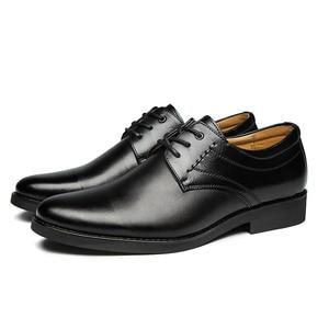 Image 3 - 2020 נעליים רשמיות גברים עגול הבוהן גברים שמלת נעלי עור גברים אוקספורד נעלי גברים אופנה שמלה הנעלה