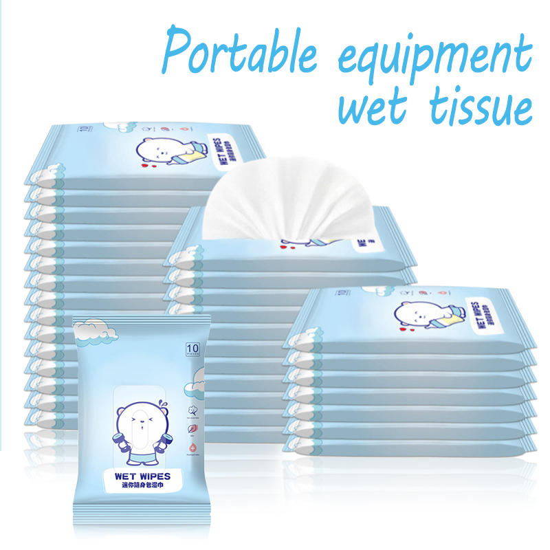 10 Packs 100 Pcs Portable Baby Sensitive Wet Wipes Cleaning Disinfection Skincare Sterilization Outdoor Safe Soft Tissue Paper