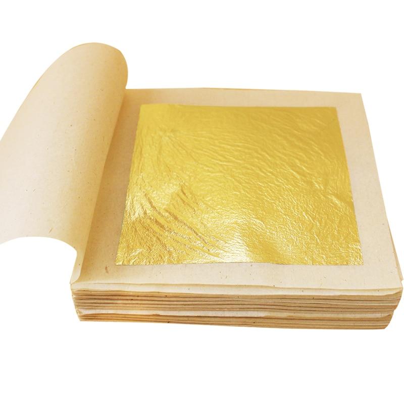 Edible Gold Leaf Sheets Gold Flakes Foil 100pcs 24K Gold In Craft Paper Arts Cake Decoration Mask Halloween Gold Leaf Gilding