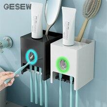 Dispenser Toothpaste-Squeezer Bathroom-Accessories GESEW Toothbrush-Holder Wall-Mount
