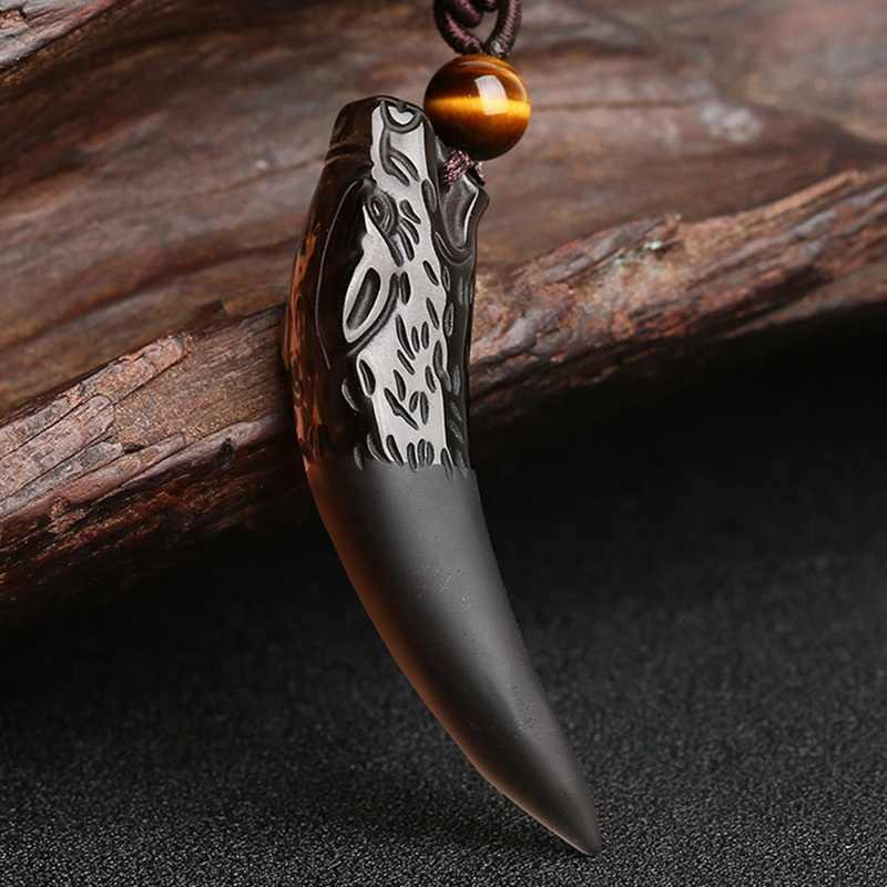 天然石黒と氷の黒曜石ペンダントネックレスウルフ歯お守りとお守り女性と男性のためのカップルネックレス