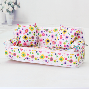 2019 Hot Sale Mini Sofa Furniture Toy Flower Sofa 20cm Couch +2 Cushions for Doll House Accessories Doll Couch