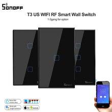 Sonoff T3 US 1/2/3gang Smart Wifi minuterie interrupteur tactile/433 RF/APP commutateur de commande à distance, prise en charge de la maison intelligente Alexa/google Home