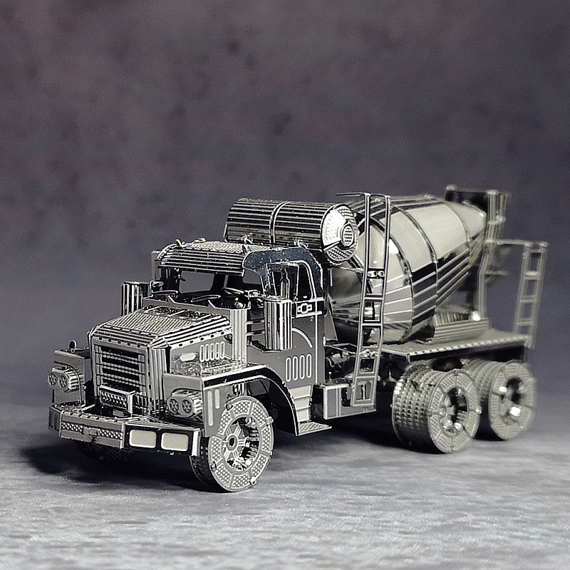 3D Puzzle Metal Model Kit Cement Mixer Engineering Vehicle Assembly DIY Laser Cut Toy Prefabricated Puzzle Models Toy For Adult