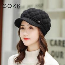 COKK Rabbit Fur Knitted Cap Winter Beret Hats For Women Vintage Bonnet Chapeau Femme Solid Color Thick Warm Beanie  Berets Gorra