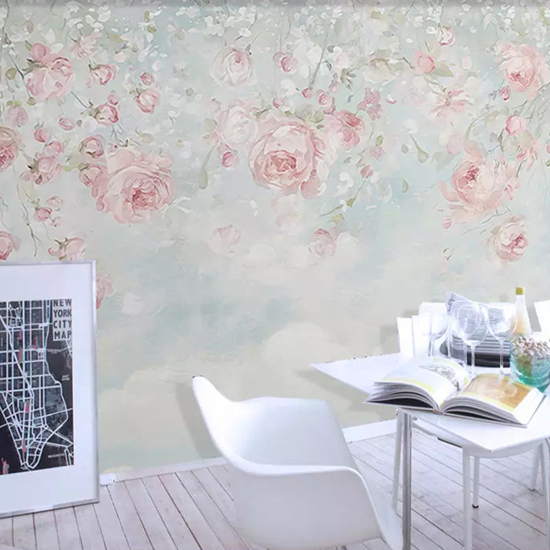 Begonia New Chinese Style Hand-Painted Fine Brushwork 8D Flowers And Birds Wall Minimalist Modern Mural Bedroom Living Room Deco