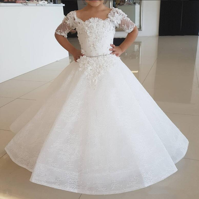 White Ivory Applique Flower Girl Dresses Tulle Princess Gown Lace Half Sleeve Holy First Communion Dresses For Girls