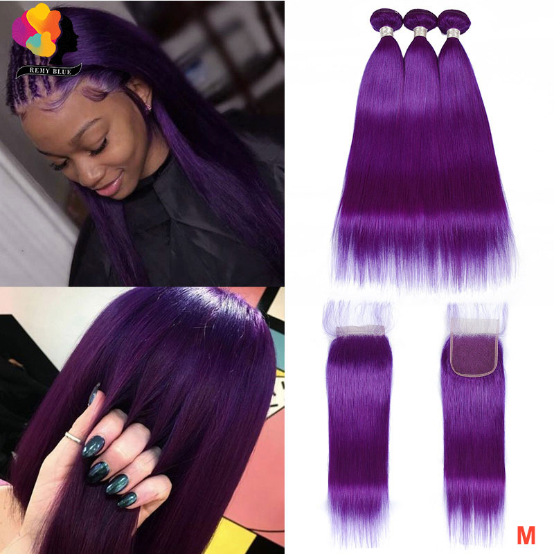 Brazilian Human Hair Bundles With Closure Pre Colored Purple Remyblue Remy Straight Hair Bundles With 4*4 Closure With Baby Hair