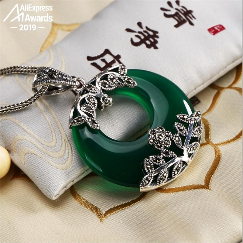 NOT FAKE S925 Fine Antique Shop Store Pendants Emerald Pendant Luxury Taste Women Handmade Vintage Natural Chalcedony Moldavite