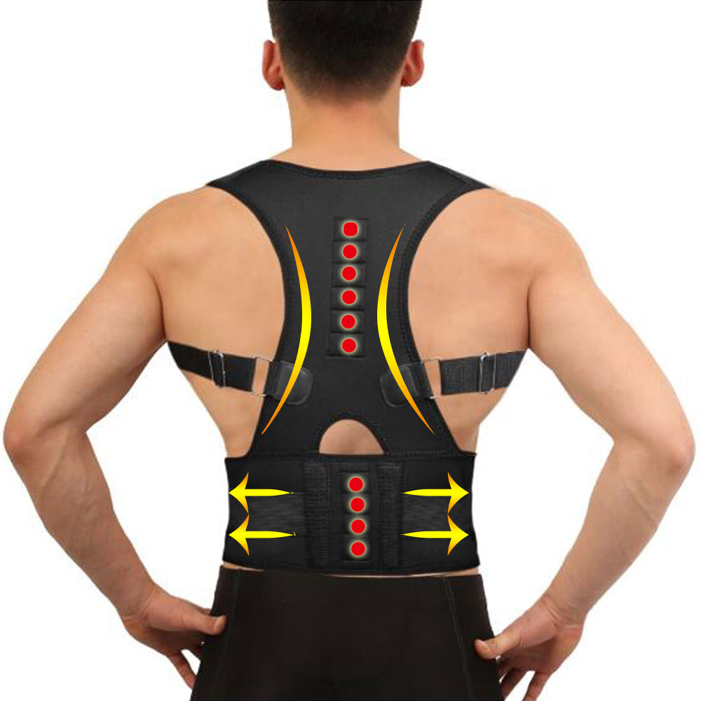 Winter Invisible Orthopedic Magnetic Therapy Back Support Belt Posture Corrector Shoulder Spine Girdle Corset Straightener Brace