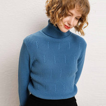 High Quality Turtleneck Wool Sweater Women 2019 Autumn Winter thick Pullover Solid Knitted Jumper pile collar Sweater(China)