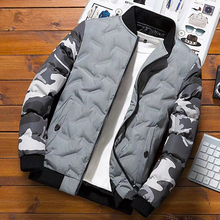 Men Winter Baseball Jacket Camouflage Patchwork Cotton Coats Slim Fit College Warm Jackets Men's Stand Collar Outwear Coat MY209