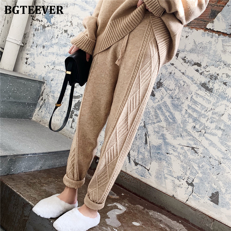 BGTEEVER Winter Thicken Women Harem Pants Casual Drawstring Twisted Knitted Pants Femme Chic Warm Female Sweater Trousers 2019