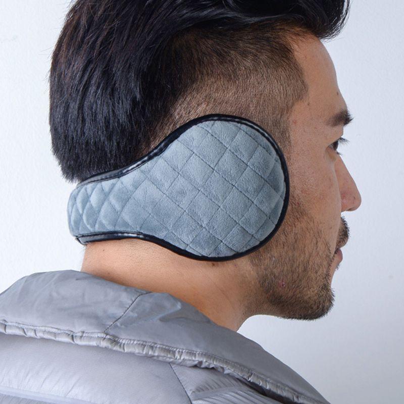 Men Women Winter Thicken Plush Windproof Knit Plaid Texture Foldable Earmuffs