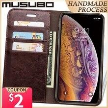 Musubo Da Cao Cấp Sang Trọng Trường Hợp Cho iPhone 11 XS Max Ví Đứng Flip Cover Funda Cho Iphone XR 8 Plus 7 6 5 Thẻ Coque Capa