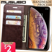 Musubo 고급 가죽 케이스 for iPhone 11 XS Max 지갑 스탠드 플립 커버 Funda For iphone XR 8 Plus 7 6 5 카드 홀더 Coque Capa