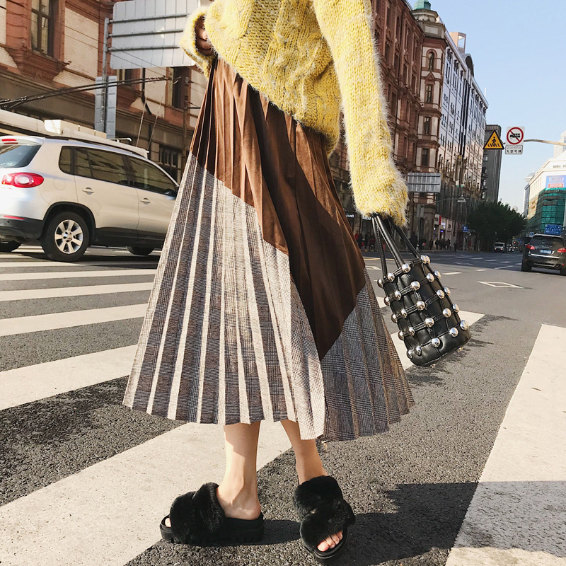 Skirt Women's Autumn And Winter Mid-length 2018 Joint Contrast Color High-waisted Ulzzang Long Pleated Skirt 9160 Photo Shoot